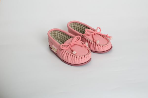 Girls Pink Leather Moccasins