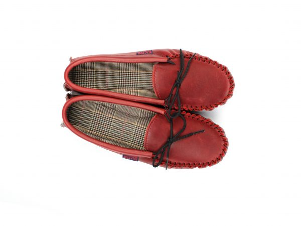 Dark Red Leather Moccasins