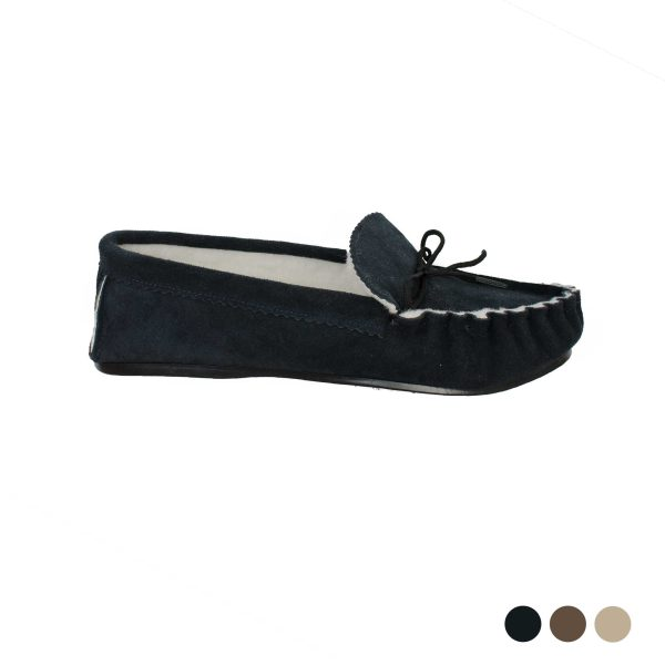 Real Sheepkin Suede Moccasins