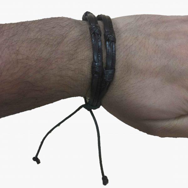 """Essentials: Men's """"double barrel"""" Leather Bracelet"""